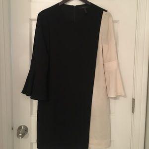 BCBGMaxazria Assymetrical Black/Ivory Dress Small